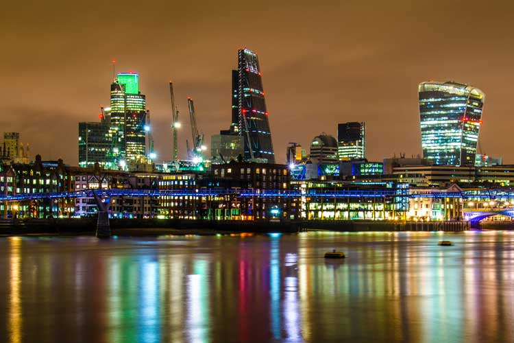 London architectural skyline and lights at night