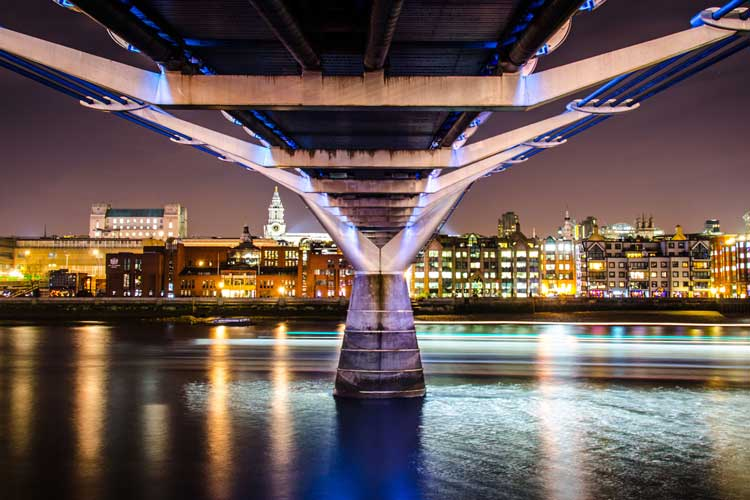 The Millenium Bridge stretching to St Paul's over The River Thames, London