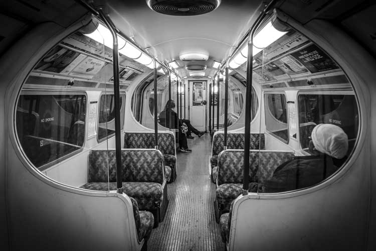 Inside a Bakerloo tube train carriage
