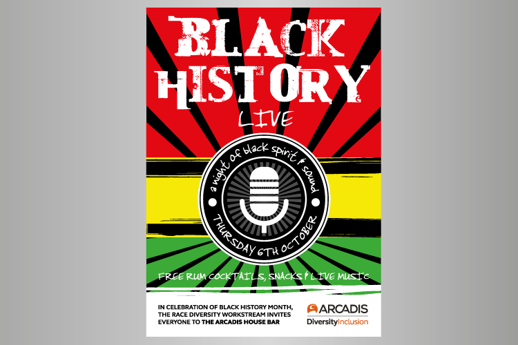 Black history month poster and live music night