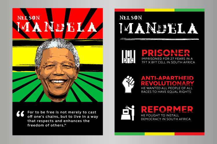 Black history month posters featuring Mandela
