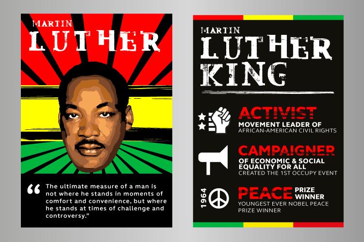Black history month posters featuring Martin Luther King