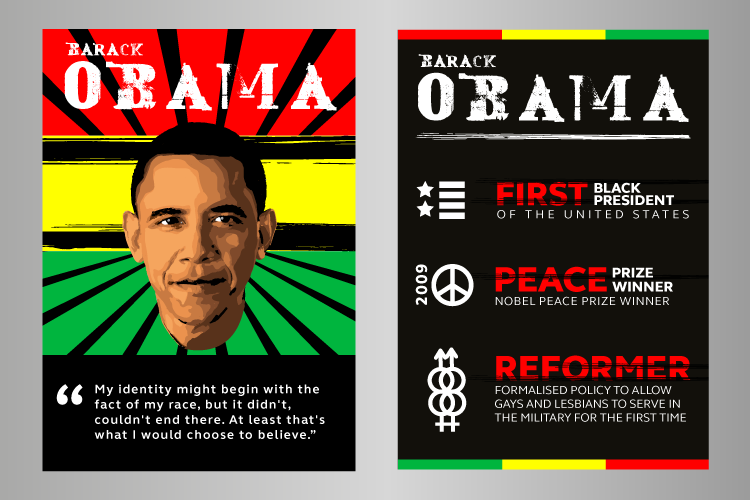 Black history month posters featuring Obama