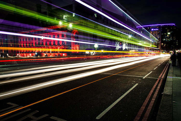 Westminster bridge light streaks