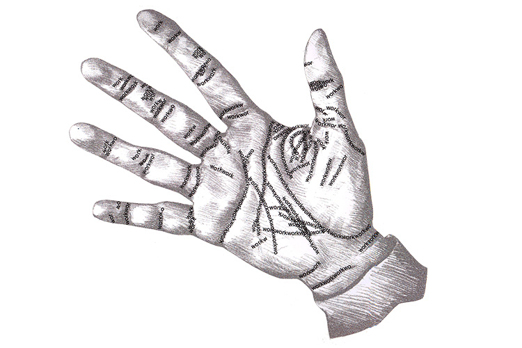 "Hand sketch with lines of type reading ""work"""