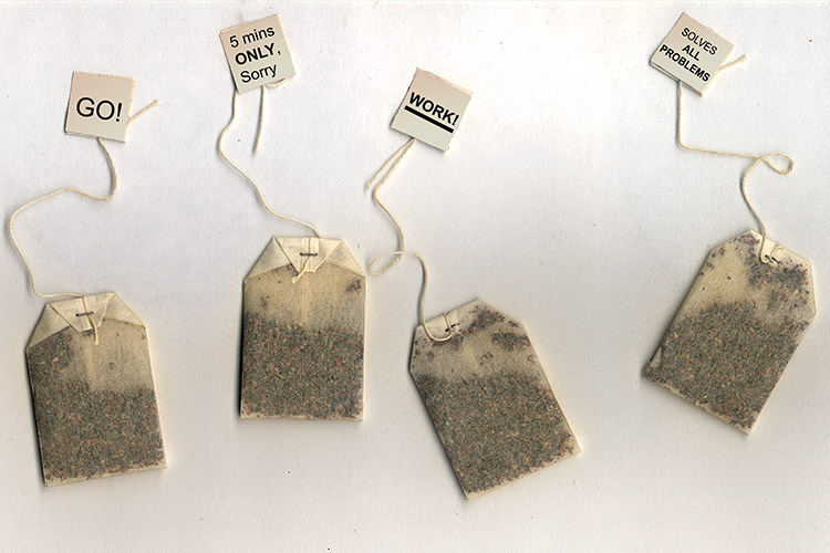 Tea bags with different draw string tabs showing different messages