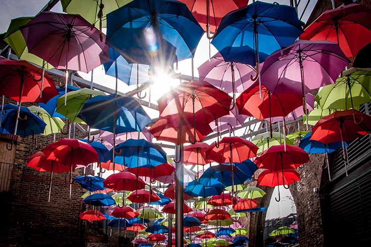 Drenched in Colour - umbrella photo that won the Amateur Photography Citylife Billboard competition