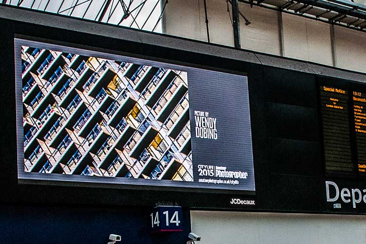Silk Street photo on the JC Decaux screen in Waterloo Station