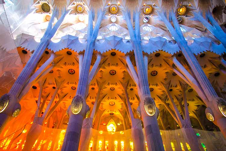 Inside, looking at the amazing roof and colours on the ceiling