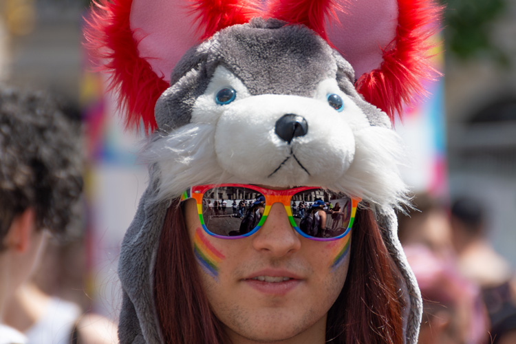 Spectator with sun glases and animal headgear
