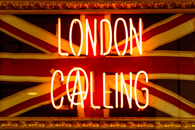 Union Jack and neon sign