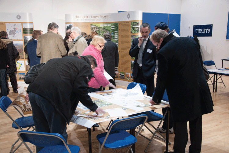 public consultation in progress using all materials