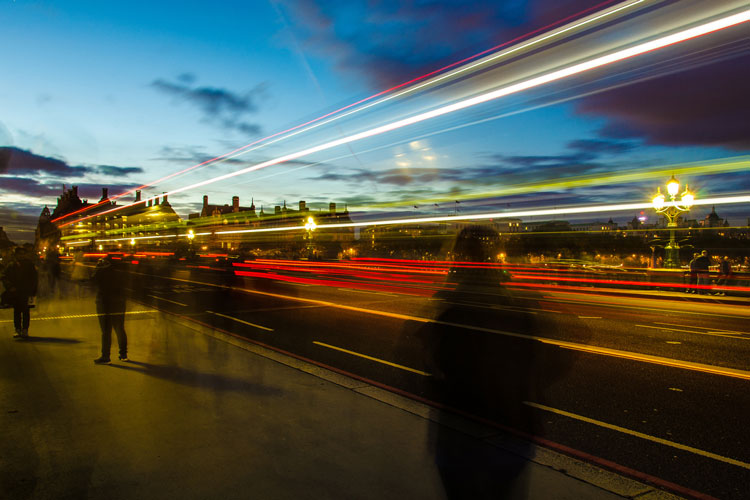 Colourful light streaks of traffic on Westminster Bridge