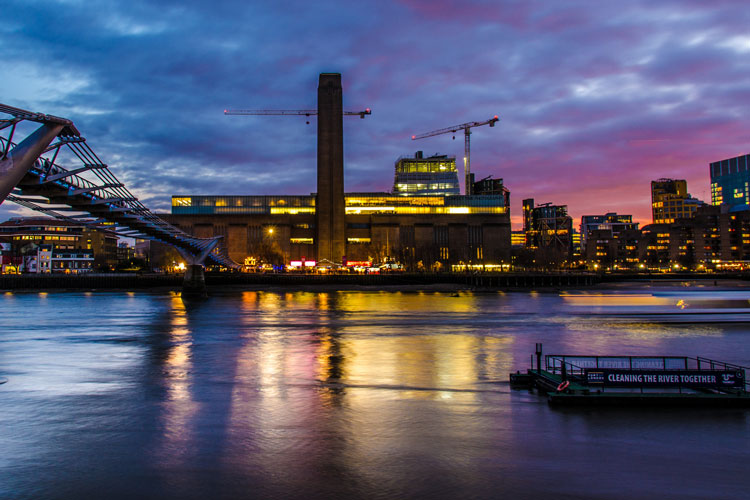 Tate Modern in the colourful sunset