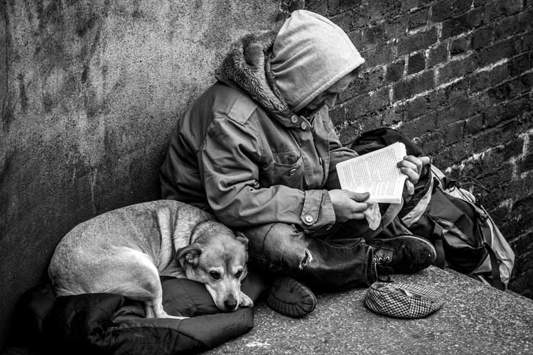 The other side of London - homeless man reading cross legged with a dog by his side