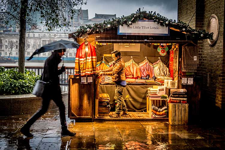 Street stall in the rain