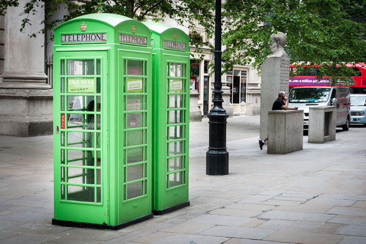 Green telephone boxes in the street but should they be red?
